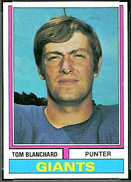 Tom Blanchard 1974 Topps football card