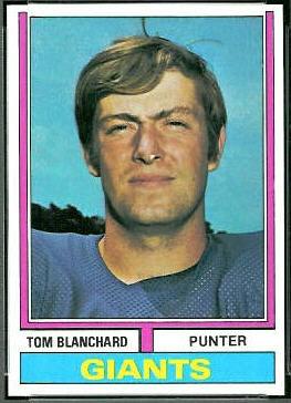 Tom Blanchard 1974 Topps football card