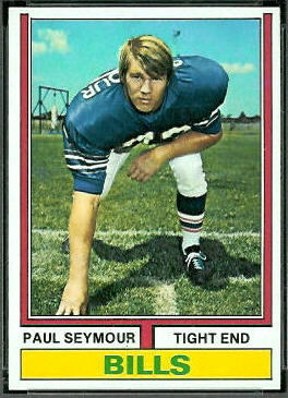 Paul Seymour 1974 Topps football card