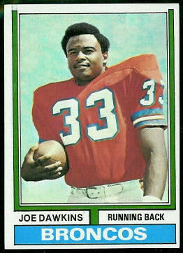 Joe Dawkins 1974 Topps football card