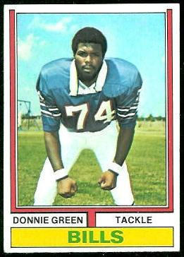 Donnie Green 1974 Topps football card