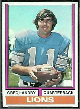 Greg Landry 1974 Topps football card