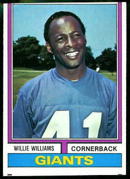 Willie Williams 1974 Topps football card
