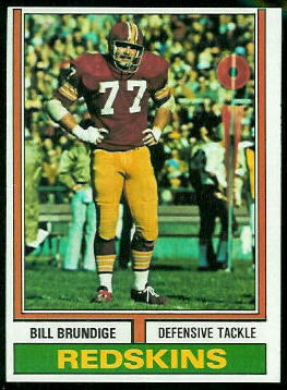 Bill Brundige 1974 Topps football card