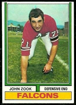 John Zook 1974 Topps football card