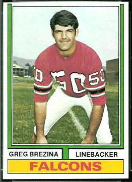 Greg Brezina 1974 Topps football card