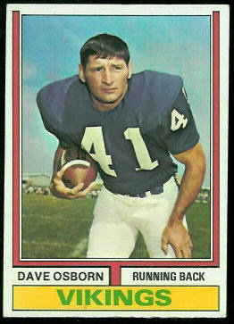 Dave Osborn 1974 Topps football card