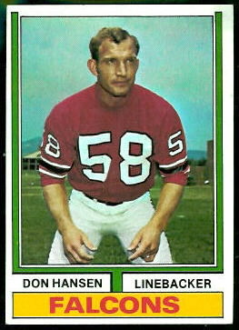 Don Hansen 1974 Topps football card