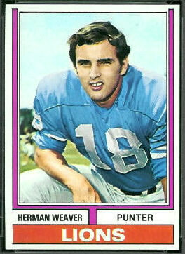 Herman Weaver 1974 Topps football card