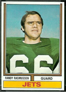 Randy Rasmussen 1974 Topps football card