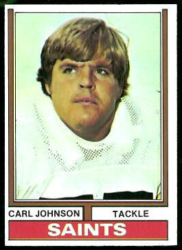 Carl Johnson 1974 Topps football card