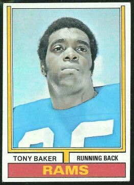 Tony Baker 1974 Topps football card