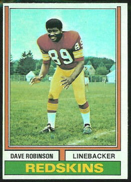 Dave Robinson 1974 Topps football card