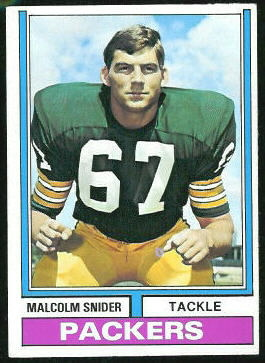 Malcolm Snider 1974 Topps football card