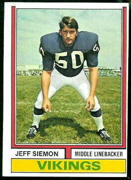 Jeff Siemon 1974 Topps football card