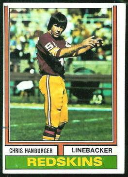 Chris Hanburger 1974 Topps football card