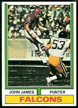 John James 1974 Topps football card