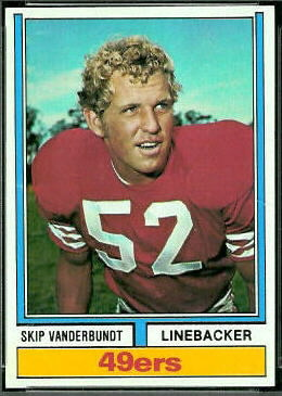 Skip Vanderbundt 1974 Topps football card