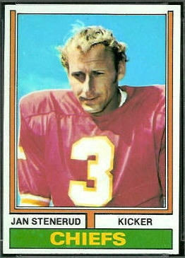 Jan Stenerud 1974 Topps football card