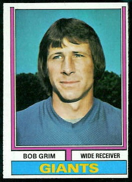 Bob Grim 1974 Topps football card