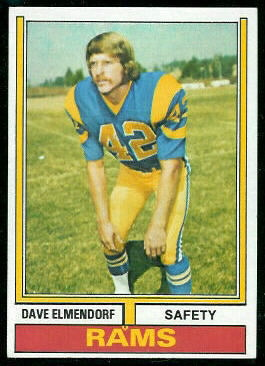 Dave Elmendorf 1974 Topps football card