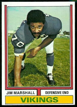 Jim Marshall 1974 Topps football card