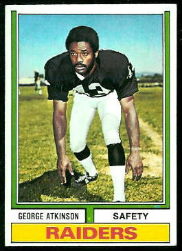 George Atkinson 1974 Topps football card