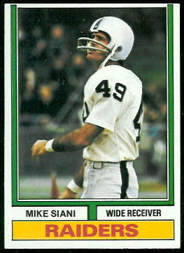 Mike Siani 1974 Topps football card