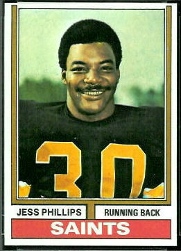 Jess Phillips 1974 Topps football card