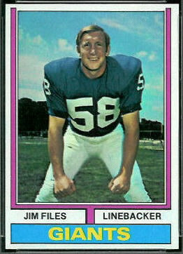 Jim Files 1974 Topps football card