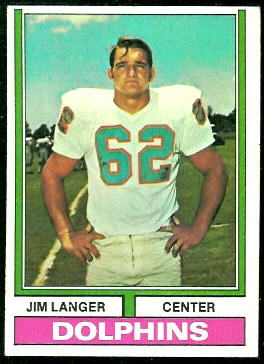 Jim Langer 1974 Topps football card