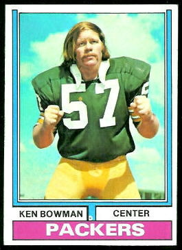 Ken Bowman 1974 Topps football card