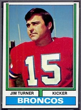 Jim Turner 1974 Topps football card