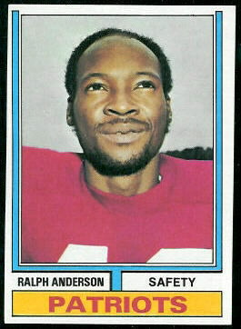 Ralph Anderson 1974 Topps football card