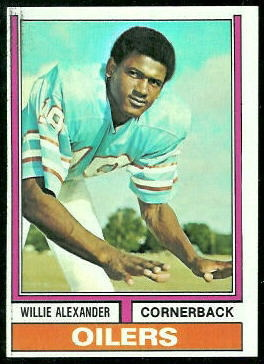 Willie Alexander 1974 Topps football card