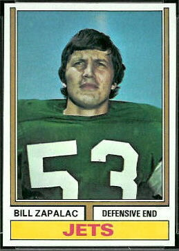 Bill Zapalac 1974 Topps football card