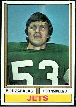 Bill Zapalac 1974 Topps football card
