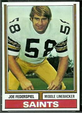 Joe Federspiel 1974 Topps football card