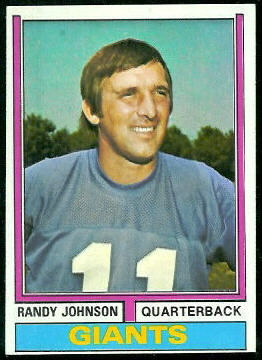 Randy Johnson 1974 Topps football card