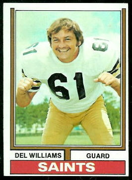 Del Williams 1974 Topps football card