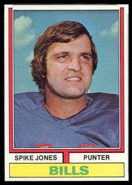 Spike Jones 1974 Topps football card