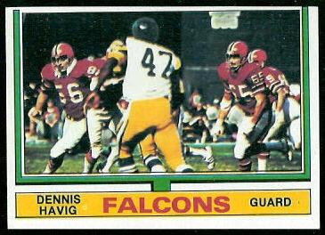 Dennis Havig 1974 Topps football card