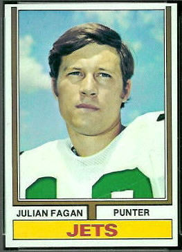 Julian Fagan 1974 Topps football card