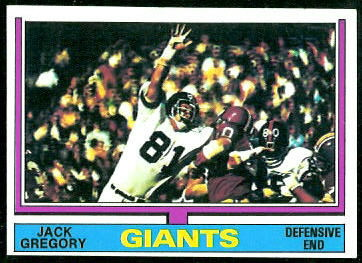 Jack Gregory 1974 Topps football card