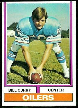 Bill Curry 1974 Topps football card