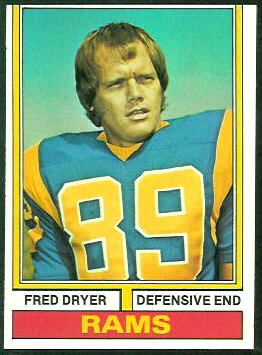 Fred Dryer 1974 Topps football card