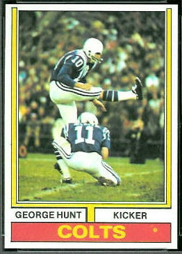 George Hunt 1974 Topps football card