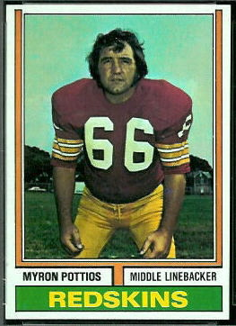 Myron Pottios 1974 Topps football card