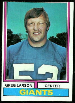 Greg Larson 1974 Topps football card