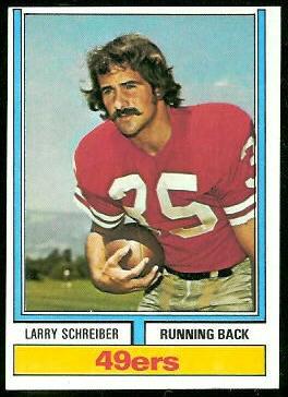Larry Schreiber 1974 Topps football card